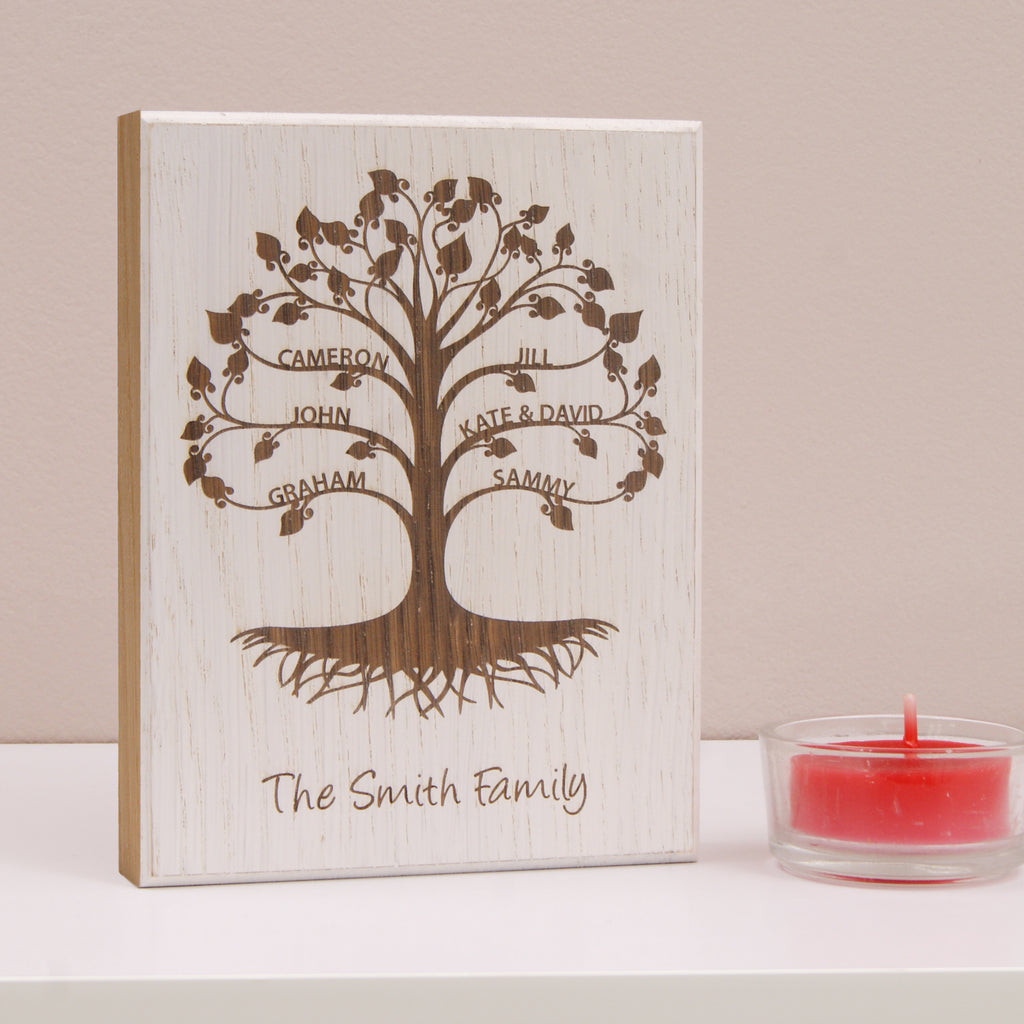 Personalised Mini Family Tree Wooden Artwork