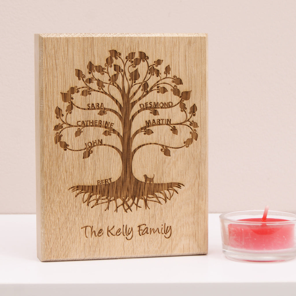 Mini Family Tree in Bare Oak