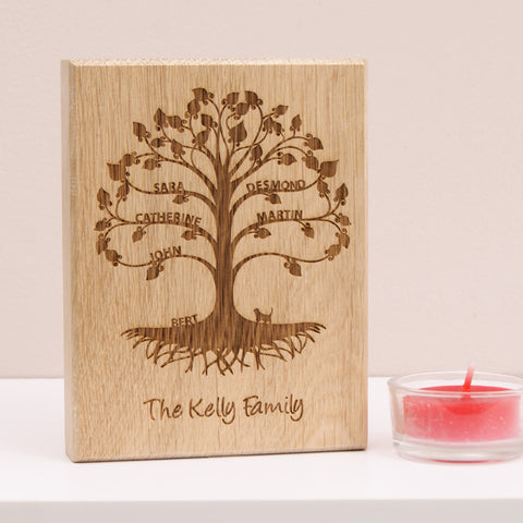 Personalised Mini Family Tree Artwork in Bare Oak