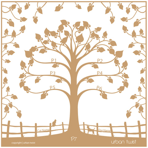 Personalised Family Tree Wall Art - Floral Floating Traditional Design