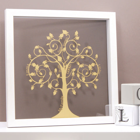 Family Tree in Shimmering Gold