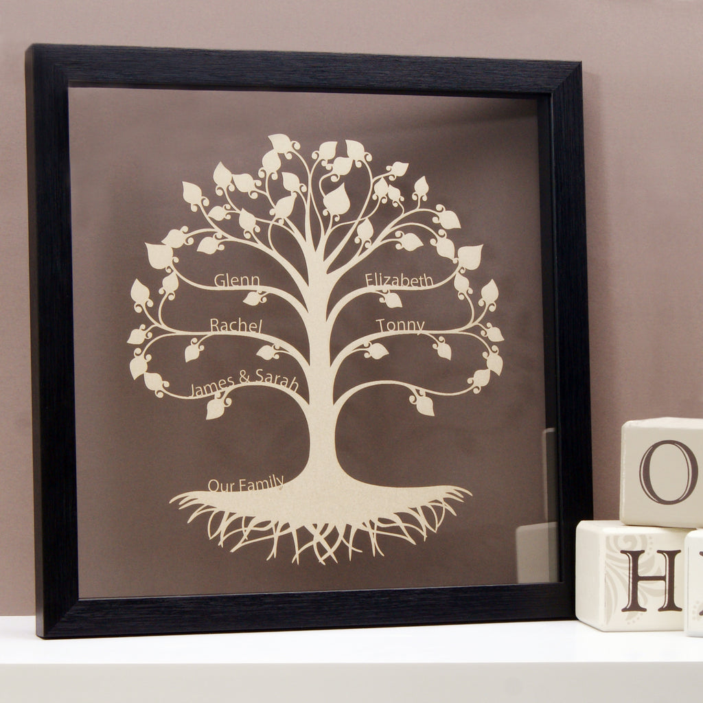 Family Tree in Shimmering Silver Champagne