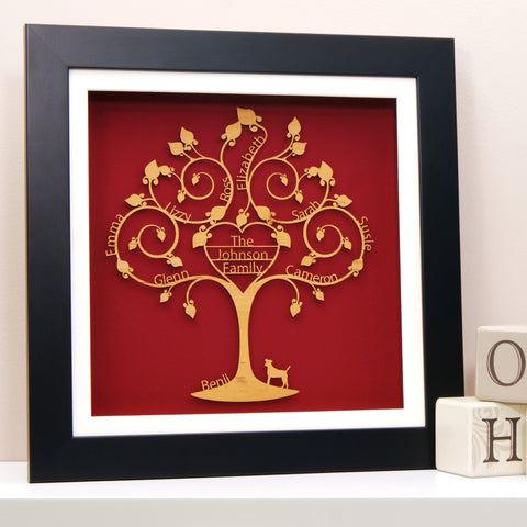 Personalised Family Tree Wall Art - Heart Design