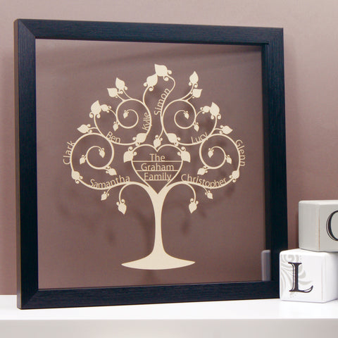 Personalised Family Tree Wall Art - Floating Heart Design