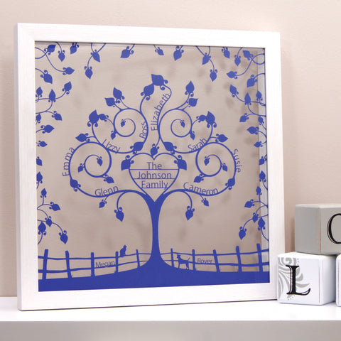 Personalised Family Tree Wall Art - Floral Floating Heart Design