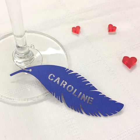 Personalised Feather in Royal Blue