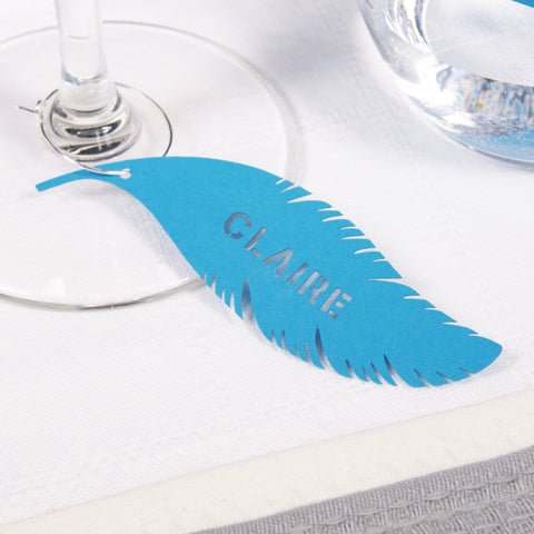 Feather Place Card in Tabriz Blue