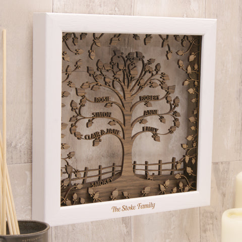Personalised Wooden 3D Traditional Family Tree Wall Art