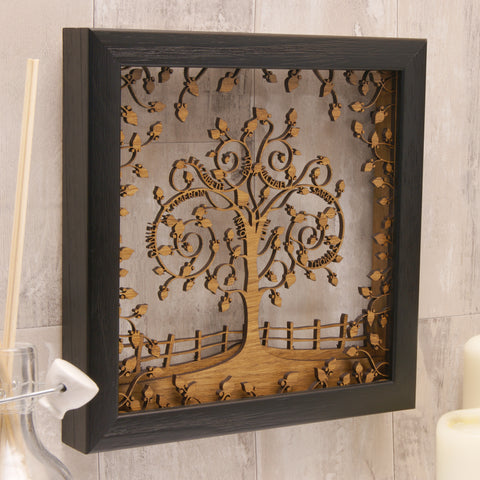 Personalised Wooden 3D Layered Family Tree Wall Art