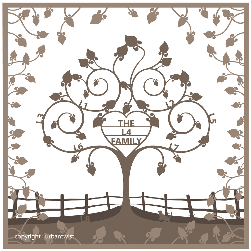 Personalised Wooden 3D Heart Family Tree Wall Art