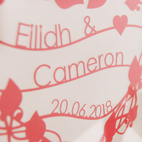 Personalised Floating Floral Heart Wreath