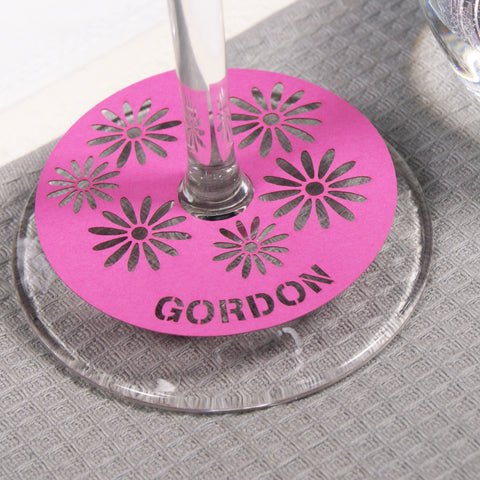 Persoanlised Floral Place Card in Fuchsia Pink