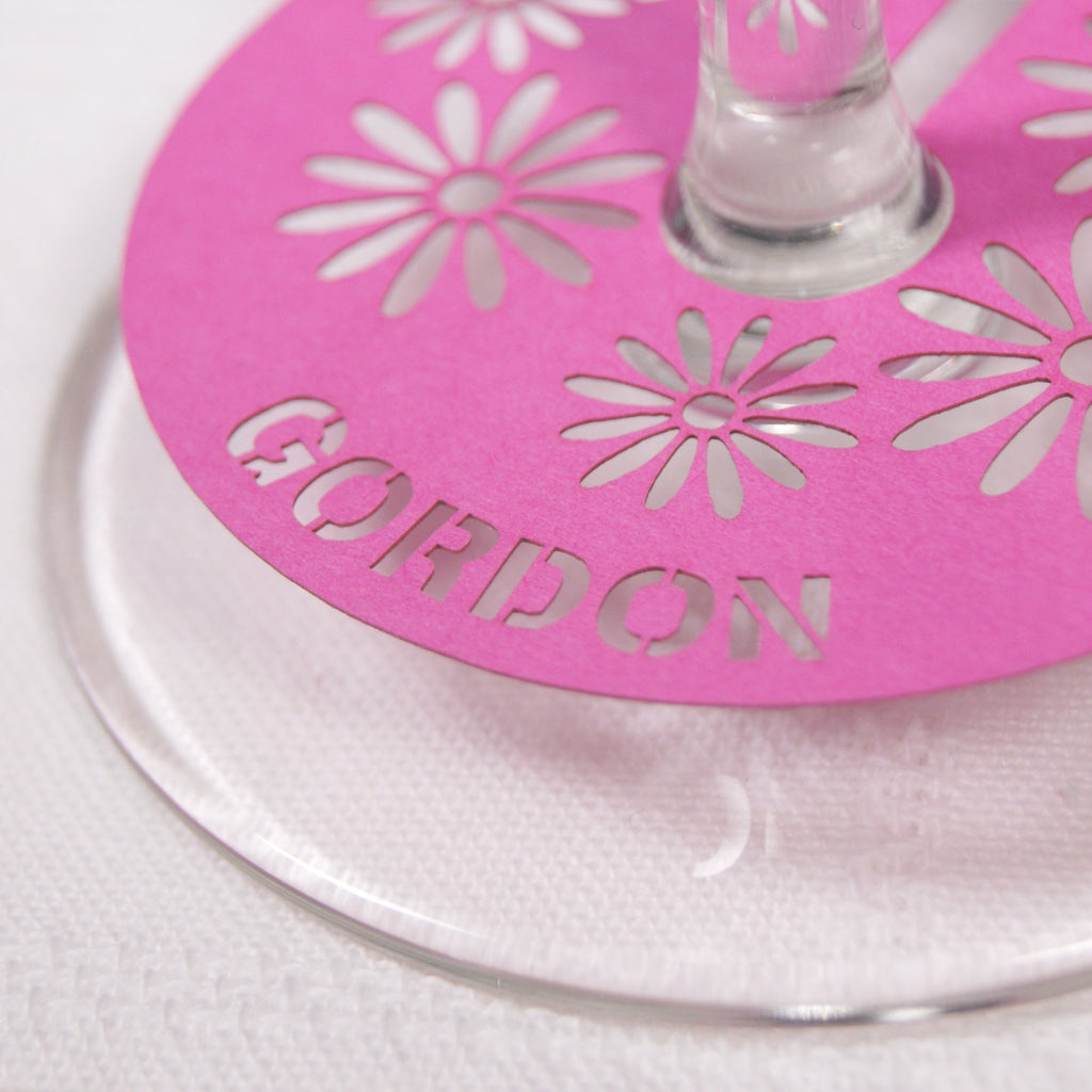 Close up Floral Place Card in Fuchsia Pink