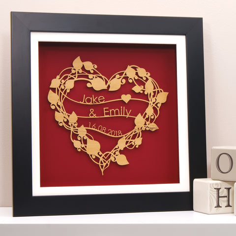 Floral Heart Wreath in Deep Red