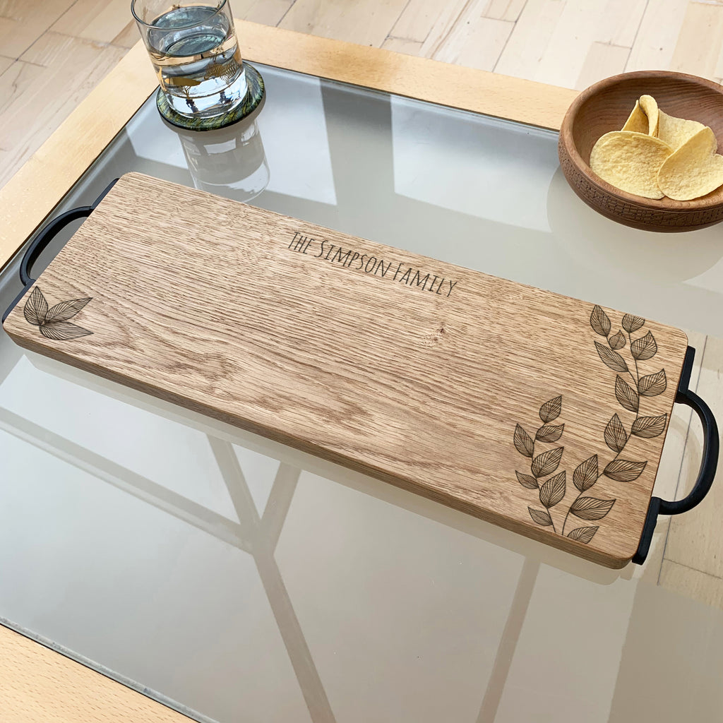 Personalised Wooden Floral Serving Board