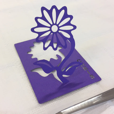 Personalised Flower Table Name Place Card in Purple