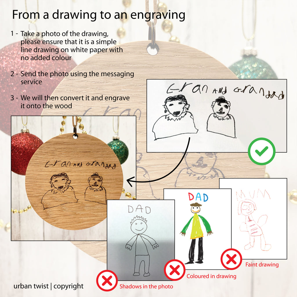 Personalised Child's Drawing Wooden Decoration