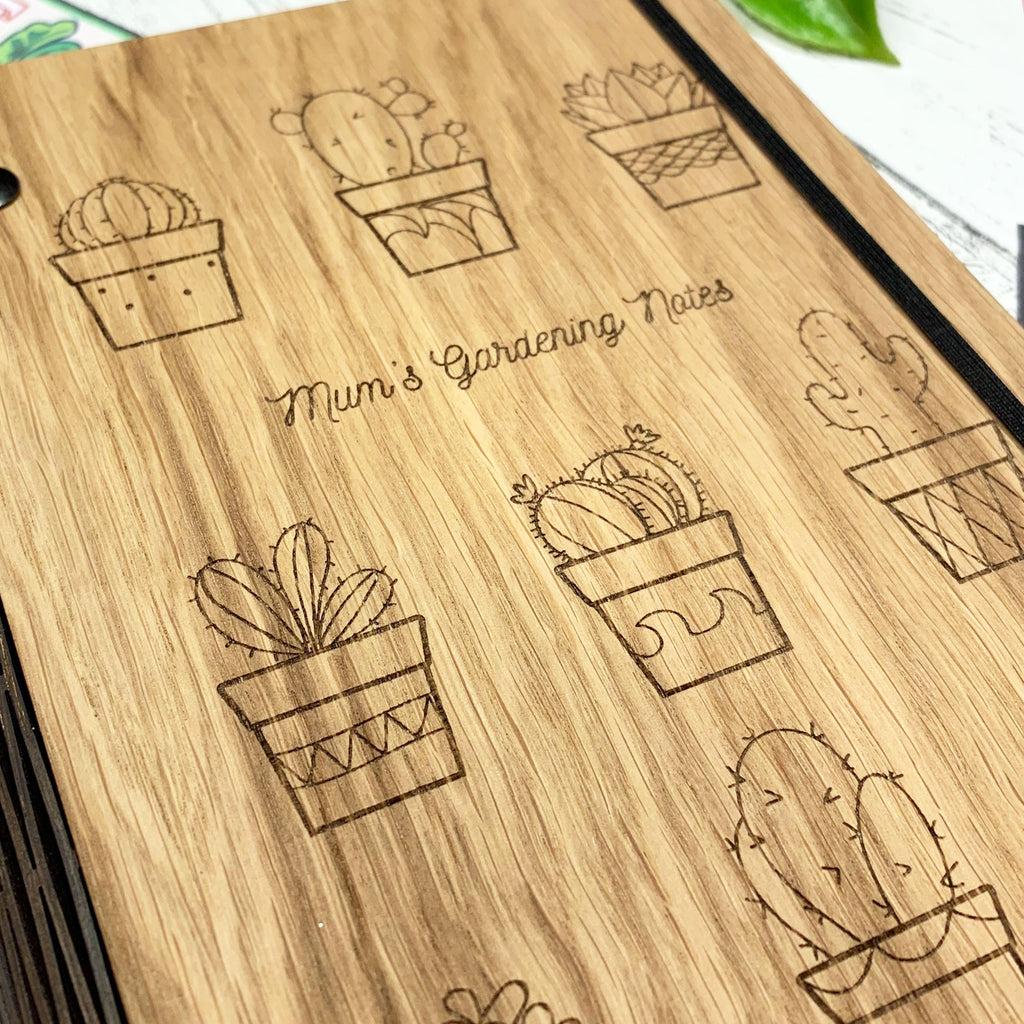 Personalised Wooden Plant Pots Gardening Notebook