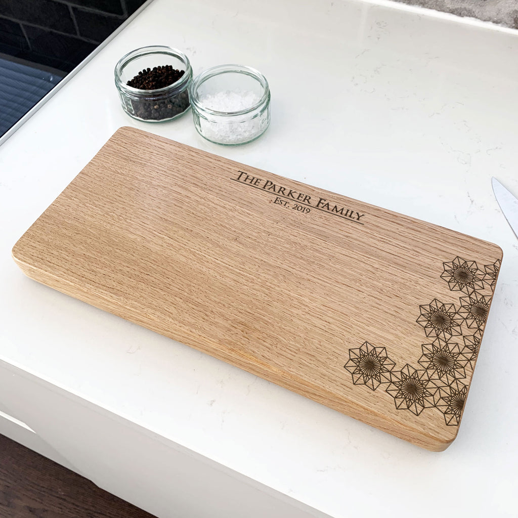 Personalised Wooden Geometric Chopping Board