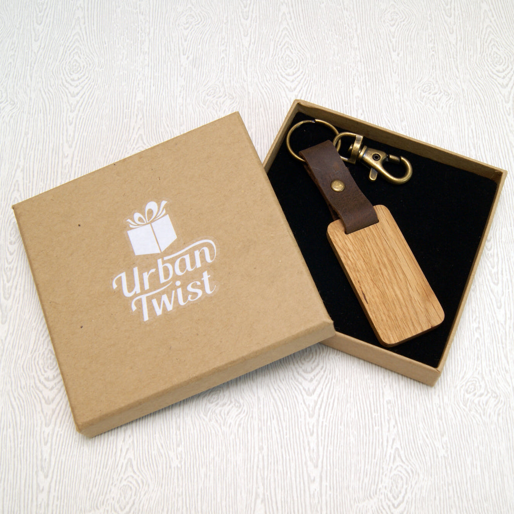 Personalised 5th Anniversary Leather & Wood Keyring