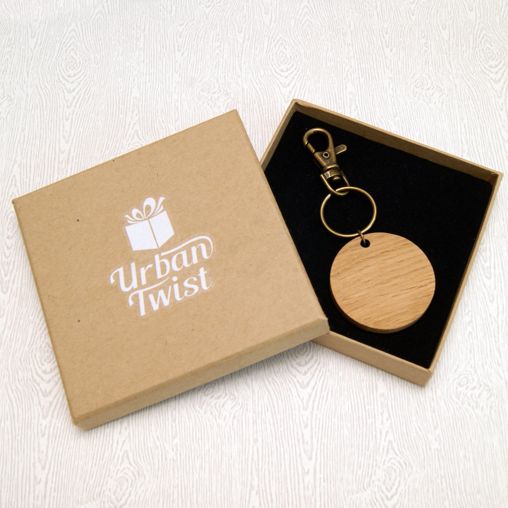 Personalised 50th Anniversary Wooden Keyring