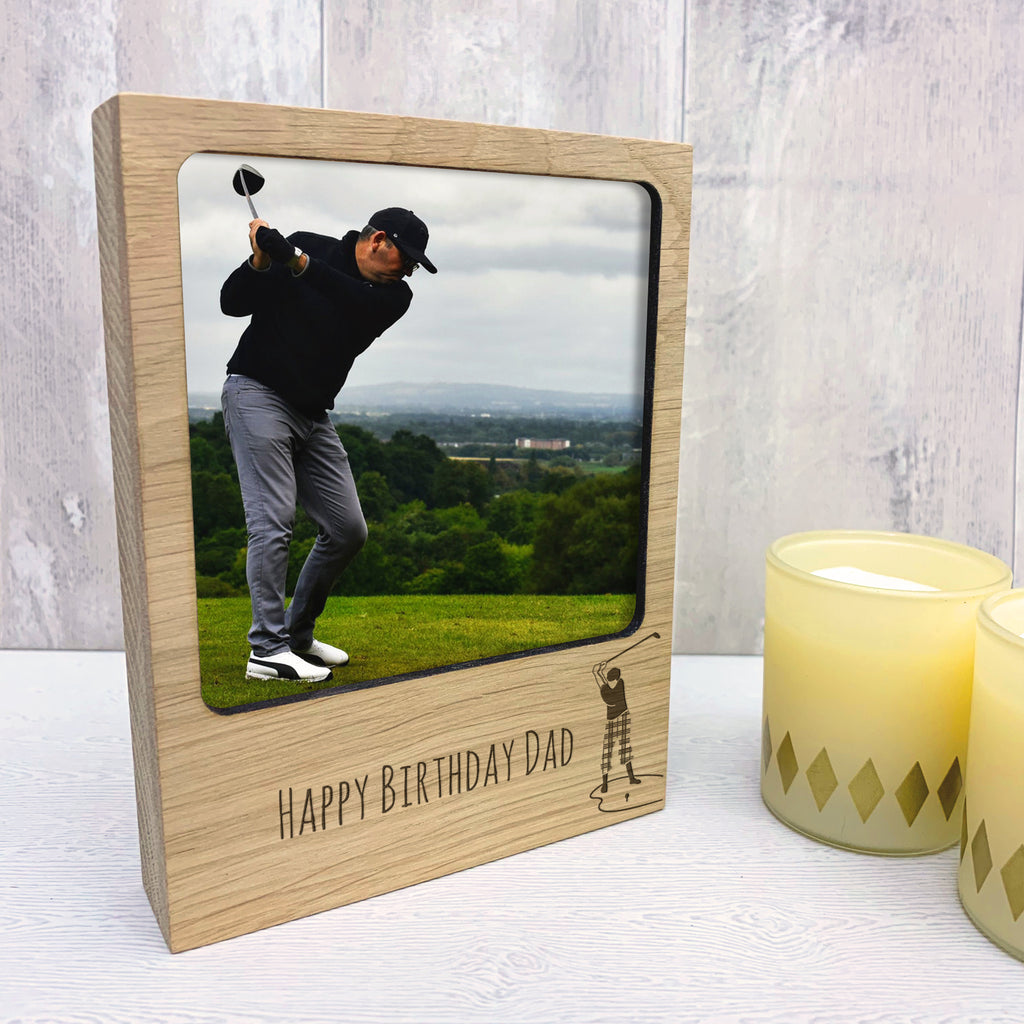 Personalised Wooden Golf Photo Block
