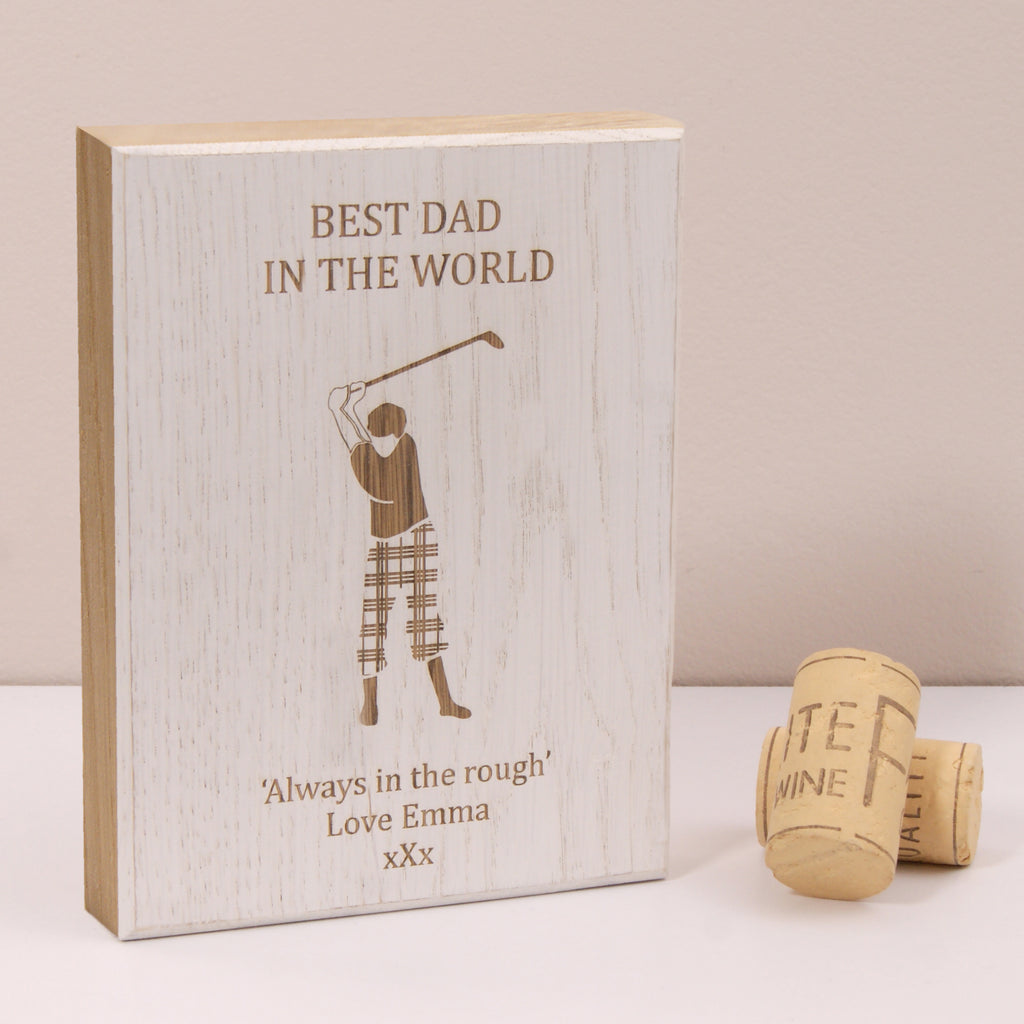 Personalised Golfer Wooden Artwork