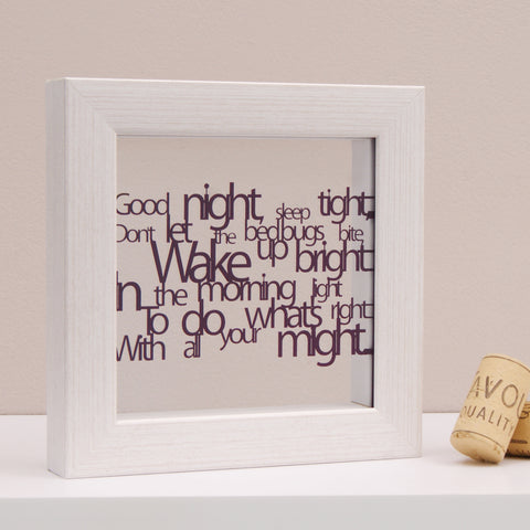 'Good Night Sleep Tight' Poetry Mini Wall Art