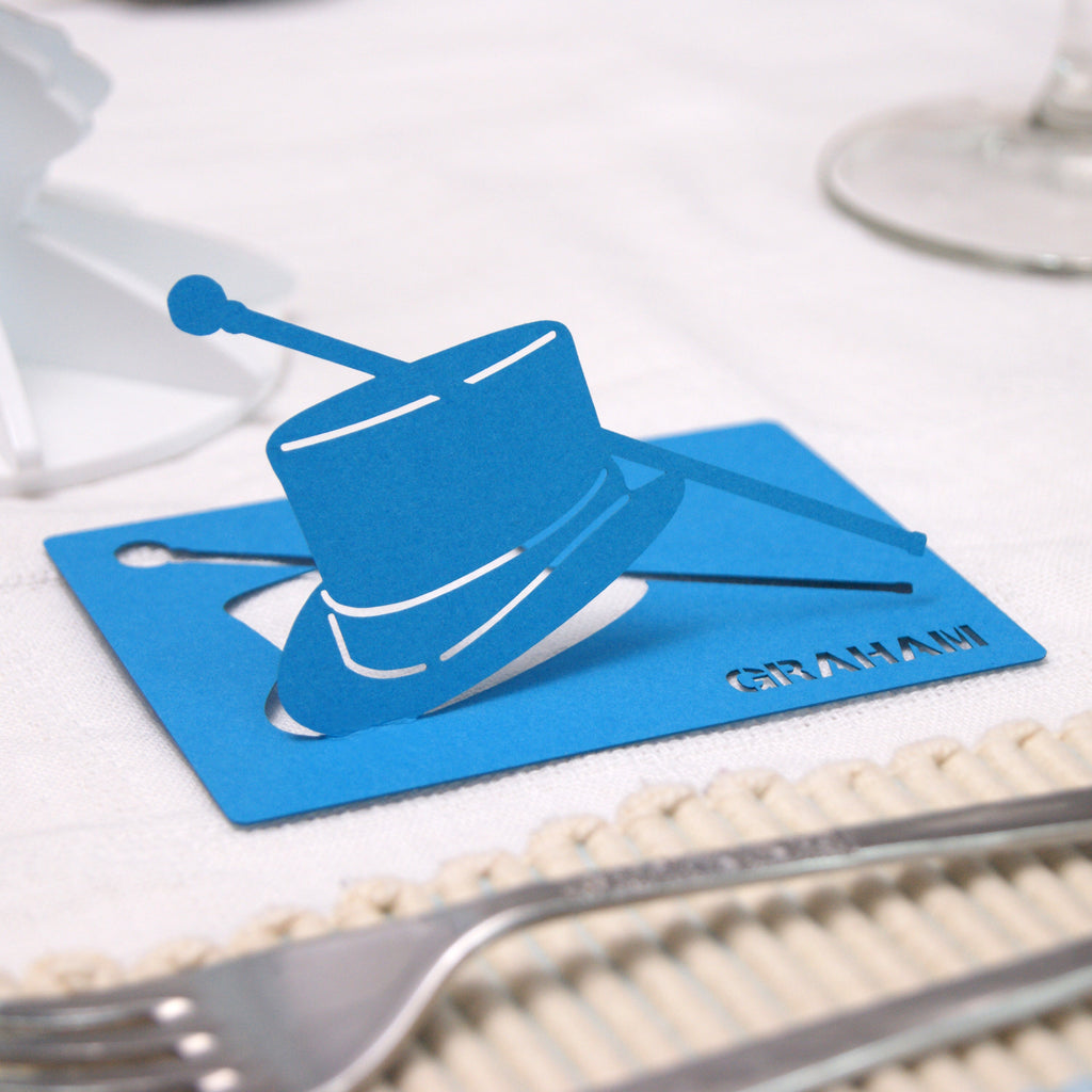 Top Hat Place Card in Tabriz Blue