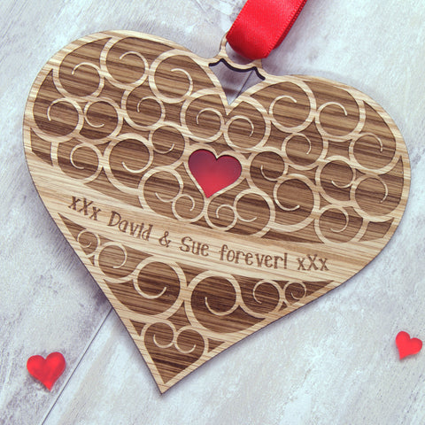 Personalised Spiral Hanging Heart