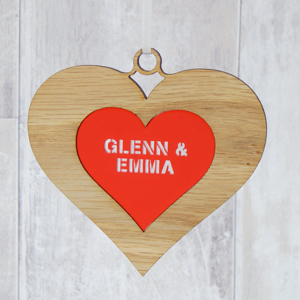 Personalised Couple's Double Heart Christmas Decoration