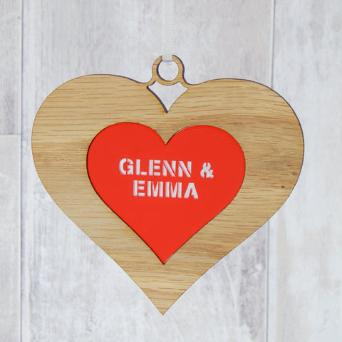 Personalised Double Hanging Valentine's Heart