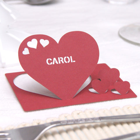 Personalised Heart Wedding Table Name Place Card