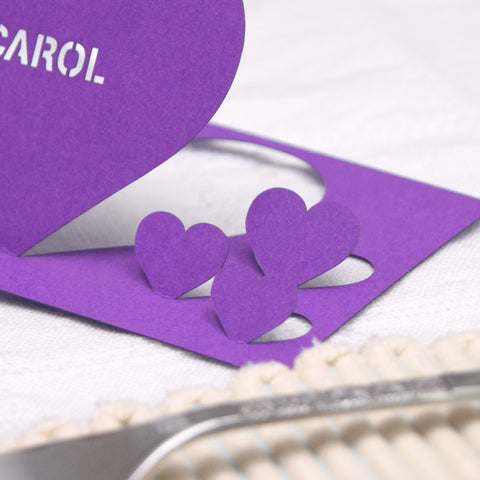 Personalised Detailed Heart Wedding Table Name Place Card