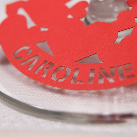 Close up Personalised Multi-Heart Place Card in Bright Red