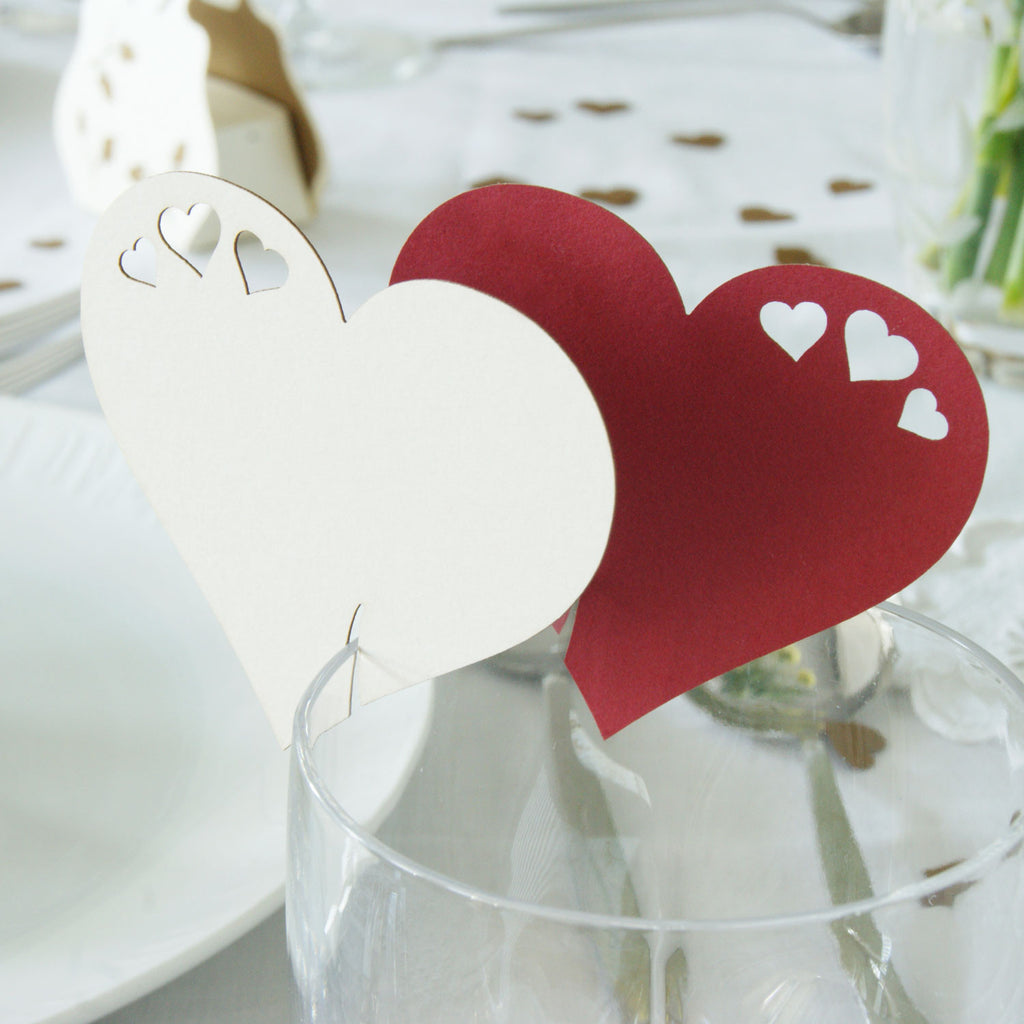 Detailed Heart Wine Glass Place Card in Natural and Scarlet