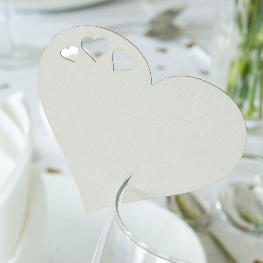Detailed Heart Wine Glass Place Card in Natural (front)