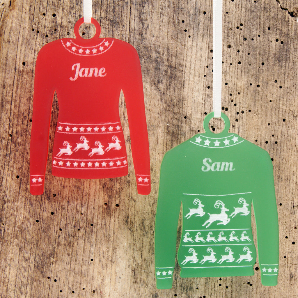 Personalised Reindeer Jumper Christmas Tree Decoration