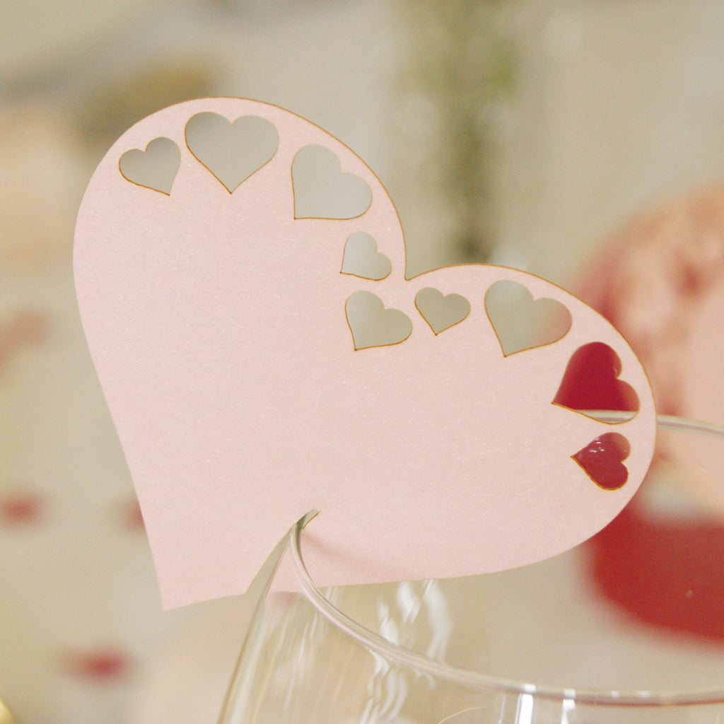 Pearlescent Large Hearts Wedding Wine Glass Name Place Cards (Pack of 10)