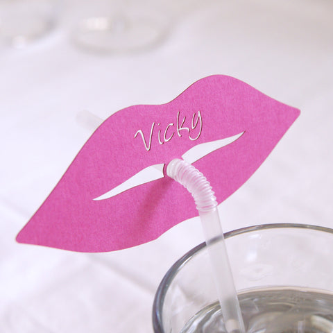 Personalised Lips Straw Place Card