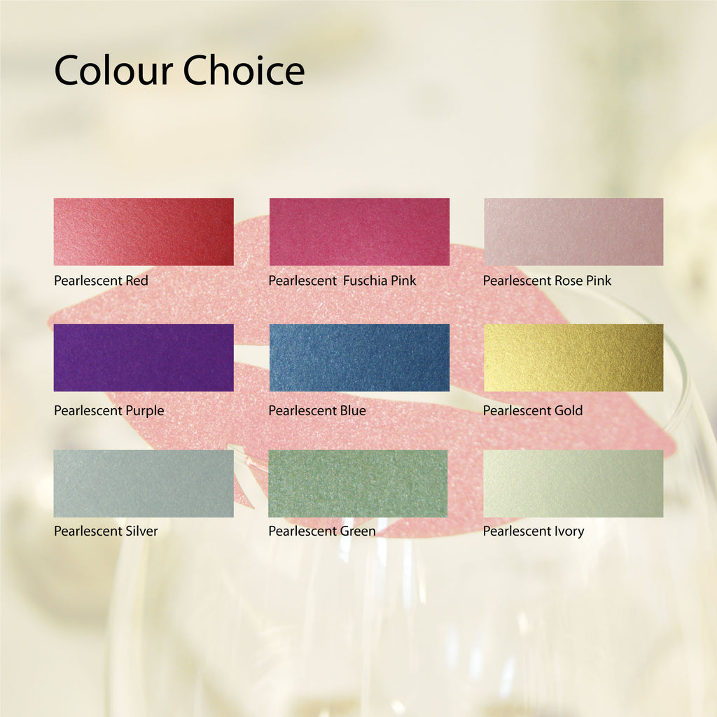 Pearlescent Lip Wedding Wine Glass Name Place Cards (Pack of 10)