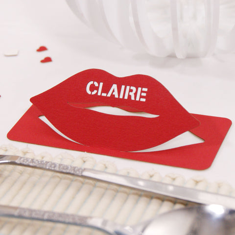 Personalised Lip Wedding Table Name Place Card
