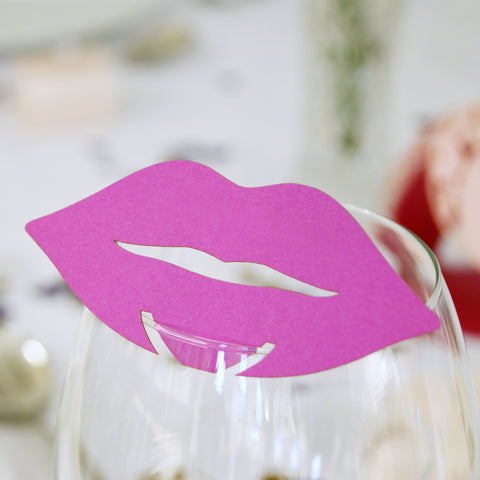 Lip Wedding Wine Glass Name Place Cards (Pack of 10)