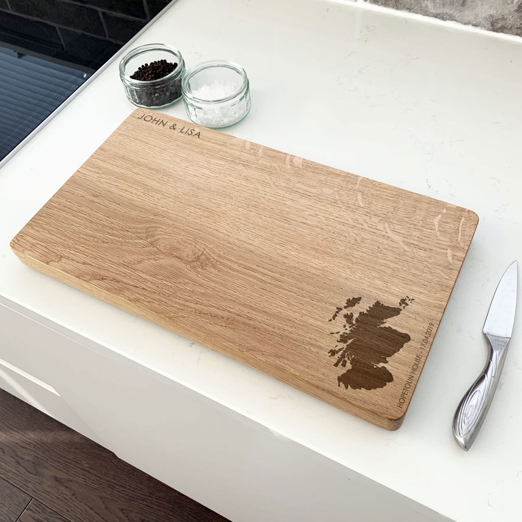 Personalised Wooden Memory Map Chopping Board