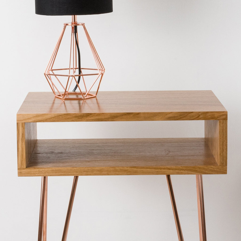 Mid Century Side Table with Copper Legs