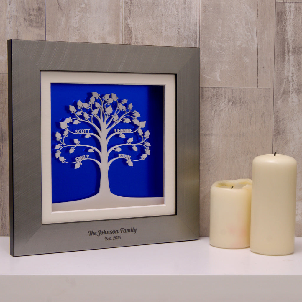 Family Tree in Deep Blue