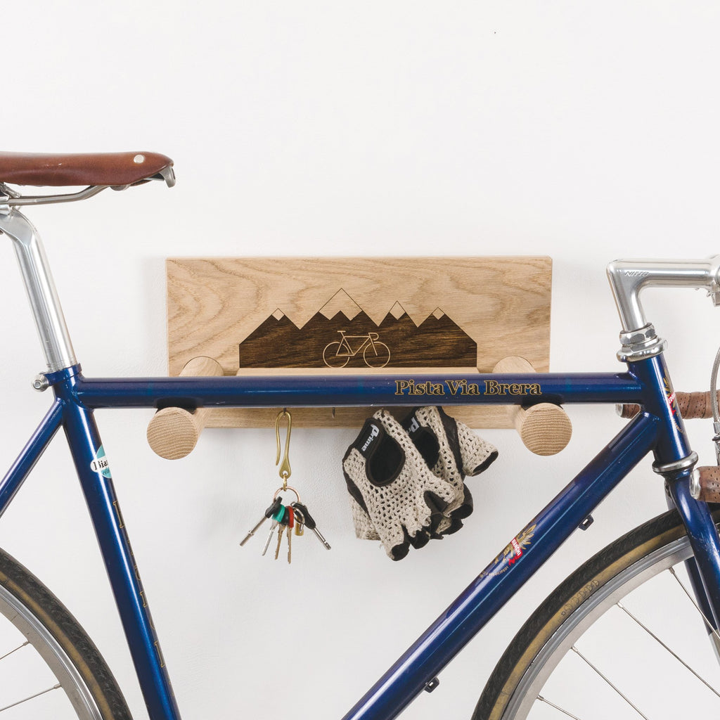 Oak Bike Shelf with Hanging Shelf - Mountain Scene