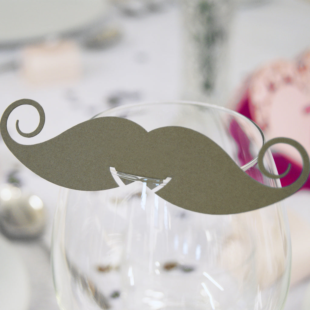 Moustache Wedding Wine Glass Name Place Cards (Pack of 10)