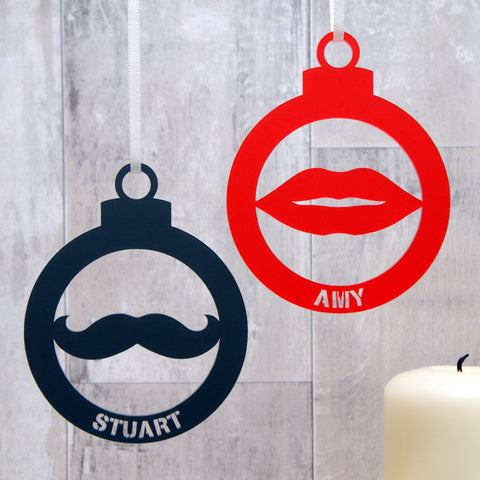 Personalised Moustache Or Lips Outline Christmas Bauble