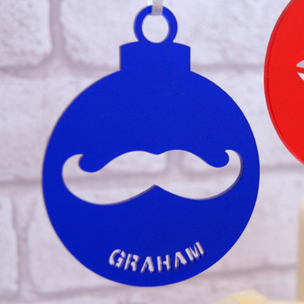Personalised Moustache Or Lips Cutout Christmas Bauble